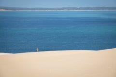 Fille marchant sur les dunes blanches sur l'île de Bazaruto Photos libres de droits