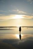 Fille marchant sur une belle plage d'or Image stock