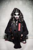 Fille mauvaise effrayante de clown Images libres de droits