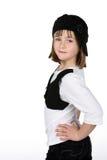 Fille mignonne avec des mains sur des gratte-culs et des vêtements élégants photos libres de droits