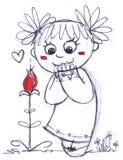 Fille mignonne avec la fleur illustration libre de droits