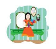 Fille mignonne avec le bouquet des fleurs Enfant heureux avec un groupe de fleurs Usine organique de nature, visage gai d'enfant, illustration stock
