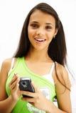 Fille mignonne avec le palmtop Photos libres de droits