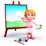 Fille mignonne avec le panneau et les couleurs de peinture Photos stock