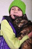Fille mignonne avec un chat image libre de droits