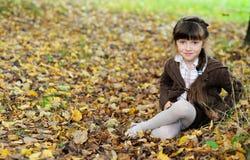 Fille mignonne d'enfant s'asseyant sur le tapis des lames d'automne Photographie stock libre de droits