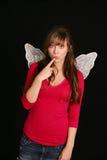 Fille mignonne dans des ailes Image libre de droits
