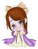 Fille mignonne dans une robe avec un arc sur sa tête illustration stock