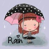 Fille mignonne de fille de bande dessinée avec un parapluie illustration stock