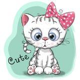 Fille mignonne de chaton de dessin sur un fond bleu illustration stock