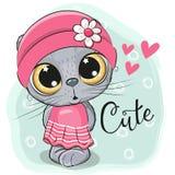 Fille mignonne de chaton sur un fond bleu Illustration de Vecteur