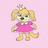Fille mignonne de chiot de bande dessinée dans la robe rose Photographie stock libre de droits