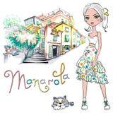Fille mignonne de mode dans Manarola, Italie Illustration Libre de Droits