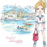 Fille mignonne de mode dans Vernazza, Italie Illustration Stock