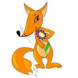 Fille mignonne de renard avec la fleur. illustration. Image stock