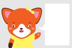 Fille mignonne de renard dans le style de bande dessinée Le Fox se dirige avec sa patte à la zone de dialogue où vous pouvez plac Illustration Stock