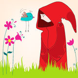 Fille mignonne de source avec l'oiseau illustration stock