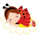 Fille mignonne de vecteur petite dormant sur la fleur illustration de vecteur