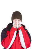 Fille mignonne soufflant son nez photo libre de droits
