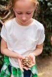Fille mignonne tenant la tortue de bébé image libre de droits