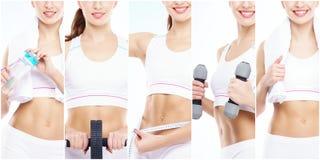 Fille mince et mince dans un concept de sport Sport, forme physique, perte de poids, soin de corps et collection de séance d'entr image stock