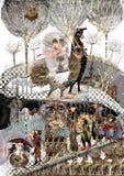 Fille montant un oiseau dans une forêt Image stock