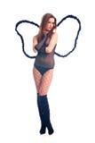 Fille noire sexy chaude d'ange Images libres de droits