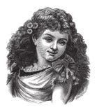 Fille ou femme de cru avec des fleurs dans son cheveu Photographie stock libre de droits