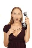 Fille parlant au téléphone Photographie stock