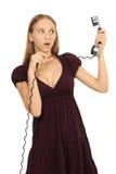 Fille parlant au téléphone Image stock