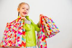 fille peu d'achats Photographie stock
