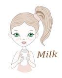 fille peu de lait Illustration Libre de Droits