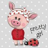 Fille porcine de bande dessinée mignonne dans un manteau rouge illustration de vecteur