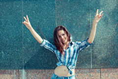 Fille positive de hippie Photo libre de droits