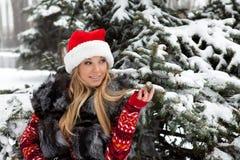 Fille près d'arbre de Noël avec la neige Photos stock