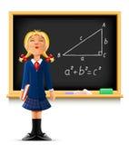 Fille près de tableau noir d'école Illustration Libre de Droits