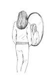 Fille près du miroir Photographie stock
