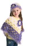 Fille préscolaire mignonne portant les vêtements fabriqués à la main Images libres de droits