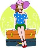 Fille prête pour des vacances - illustration de vecteur Photos stock