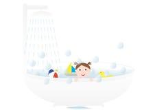 Fille prenant un bain Image stock