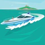 Fille prenant un bain de soleil sur la plate-forme d'un yacht énorme illustration stock