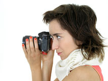 Fille prenant une photo Image stock