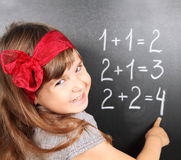 Fille près de tableau noir apprenant des mathématiques Photographie stock