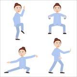 Fille qigong de exécution ou excercises taijiquan illustration libre de droits