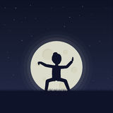 Fille qigong de exécution ou exercices taijiquan le soir illustration libre de droits