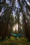 Fille qui aime voyager détendant dans l'hamac bleu dans la forêt bavaroise d'Allemagne photo libre de droits