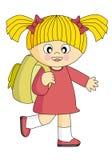 Fille qui va à l'école Image stock