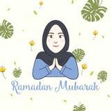 Fille Ramadan Greeting Card Vector de Hijab Image stock