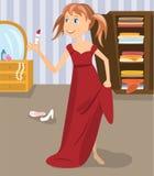 Fille rectifiée dans la robe de la mère Images libres de droits