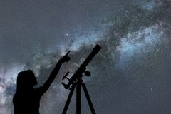 Fille regardant les étoiles Manière laiteuse de télescope photographie stock libre de droits